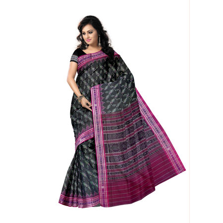 OSS240: Black-Magenta Handloom Mercerized Sambalpuri Saree, black