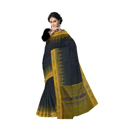 OSS7412: Black color Odisha Handloom Cotton Sari for this Puja occasion