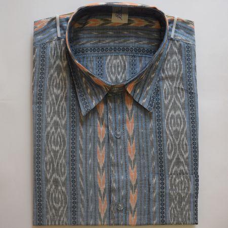 Exclusive Light Blue Handwoven Sambalpuri Ikat Cotton Gents Half Shirt AJ002123