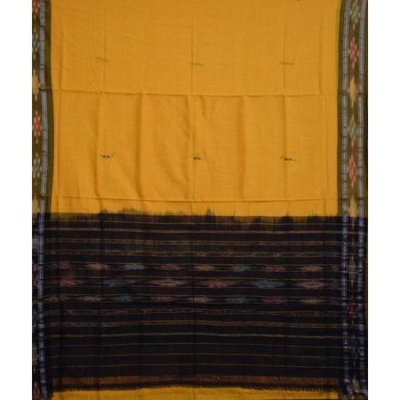 AJ001159: Yellow with Olive Green Handloom Ikat Cotton Saree of Odisha.