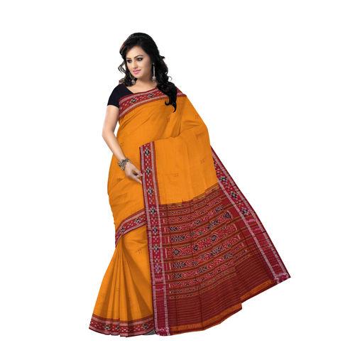 OSS2023: Turmeric colour buti design hand woven Cotton Saree