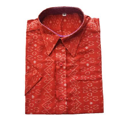 Red With White Handloom Half Shirt for Men Made in Odisha Sambalpur AJ001771