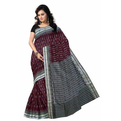 OSS7585: Maroon color Handwoven Cotton sarees online shop