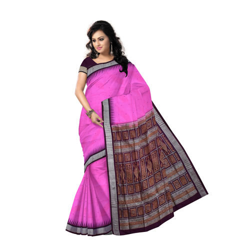 OSS5004: Handwoven Bomkai Silk Saree of Sonepur in Hot Pink and Antique Ruby