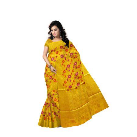Light Olive Yellow Handloom Net Design Banaras cotton Silk Saree of Uttar Pradesh AJ001600