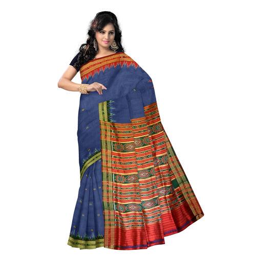 OSS5098: Blue color Ganga jamuna Handloom silk sari for party wear