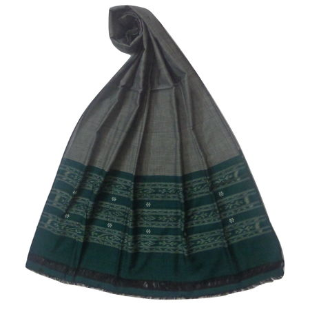 OSS105: Deep Green with Grey color handloom cotton Dupatta