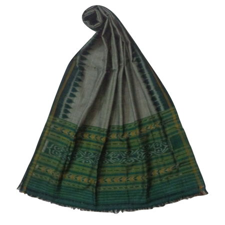 OSS3574: Green color handwoven cotton dupatta for office wear.