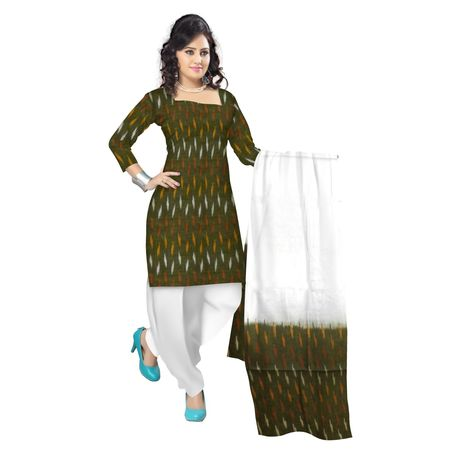 OSS6198: Olive color Handloom cotton Salwar Pieces available in Odisha