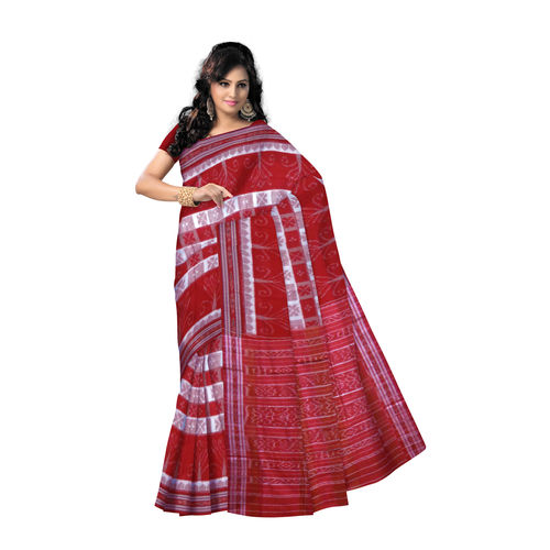OSS7441: Light Beige with Red check design Kotki kotton sari for puja wear