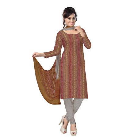 OSS1040: Beautiful Traditional Dark Sandal Brown & Light Sandal brown Traditional Ikat(tie & dye) Cotton Dress Material.
