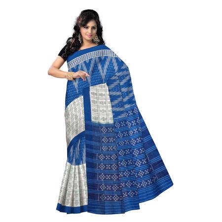 OSS9042: White with Blue color Pasapalli handloom Sambalpuri cotton sarees