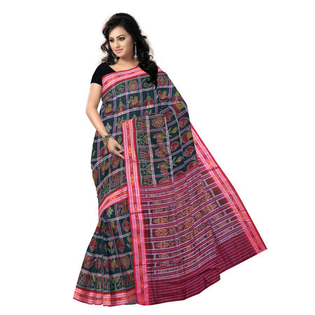 OSS6183: Special Body bandha Nabarangi design black cotton saree