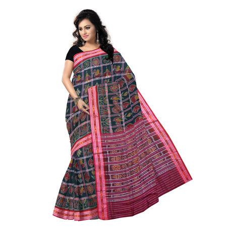 OSS6183: Special Body bandha Nabarangi design black cotton saree