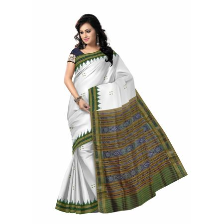 OSS5122: White with Green handwoven Silk sarees for festival wear.