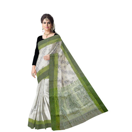 OSSWB9031: Cotton Saree with Bangal Kantha Embroidery