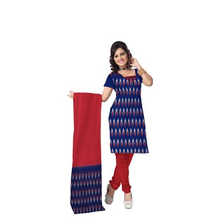 Unstitched Women's Handloom Navy Blue with Red Ponchampally Ladies cotton Dress Material with Dupatta Aj001368