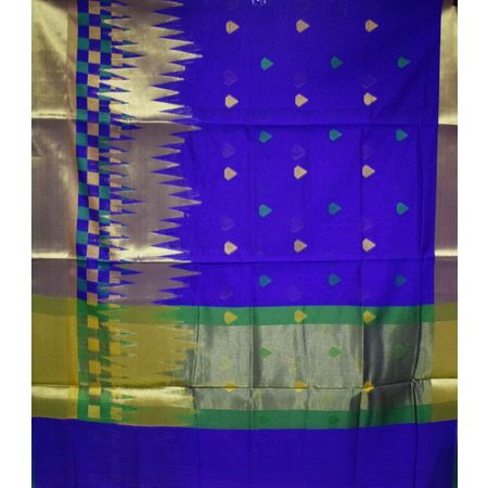 Navy Blue With Silver Handloom Banaras cotton Silk Saree of Uttar Pradesh AJ001565