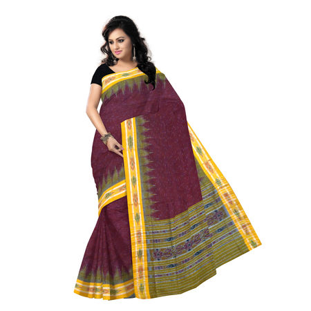 OSS238: Maroon with Yellow Handloom cotton sari