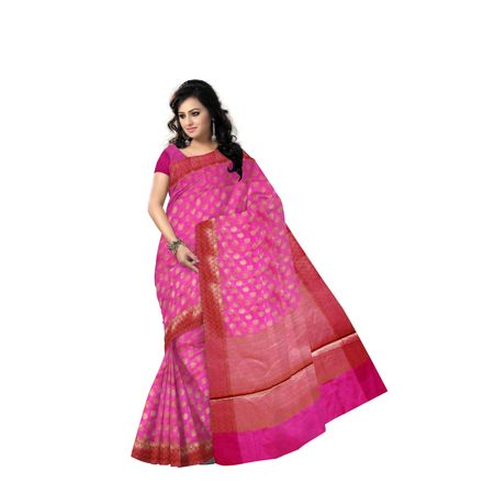 Dull Pink With Golden Handloom Buti Design Banaras cotton Silk Saree of Uttar Pradesh AJ001590