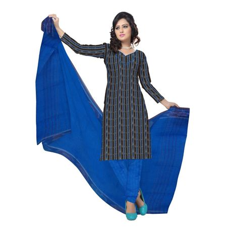 OSS6201: Black with Blue Handwoven Ladies Dress Material made in Orissa