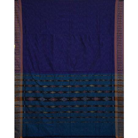 AJ001157: Blue With Green Handloom Ikat Cotton Saree of Odisha.