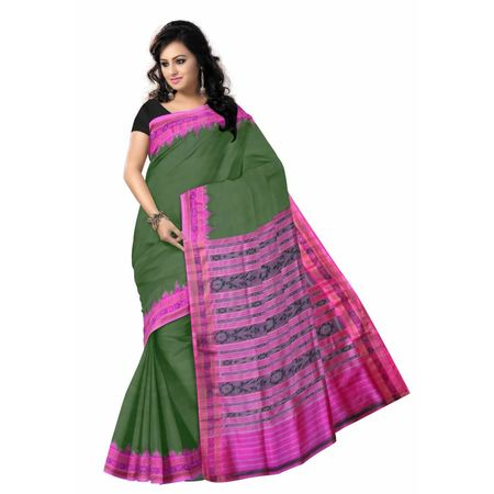 OSS023: Green color Handloom Silk Saree of odisha.