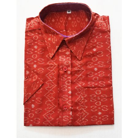 Red With White Handloom Half Shirt for Men Made in Odisha Sambalpur AJ001771