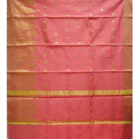 Dull Pink With Golden Handloom Temple Design Banaras cotton Silk Saree of Uttar Pradesh AJ001574