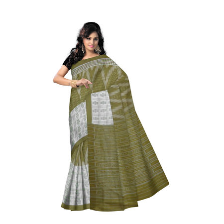 OSS079: Handwoven Light Olive with White ikat cotton sarees