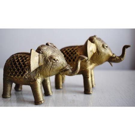 OHD017: Small Size Elephant Dhokra handicraft.