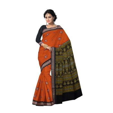 AJ000121: Orange With Black Handloom Bomkai Cotton saree with Blousepiece
