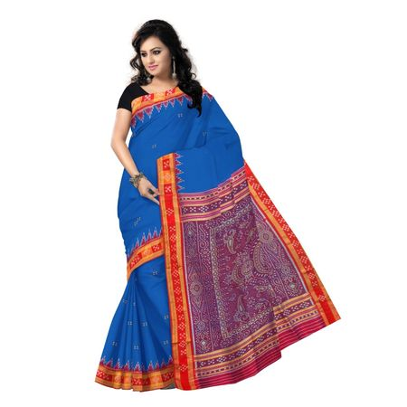 OSS9067: Blue color Pasapalli Handwoven Silk sarees for bridal wear