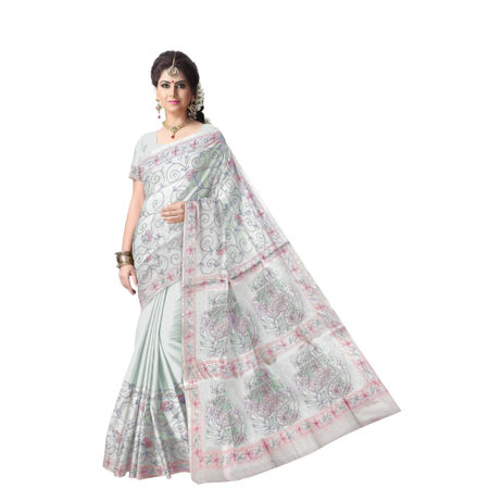 OSSWB9057: Traditional Katha Stitch Silk Saree of West Bengal