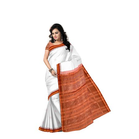White With Light Brown Handloom Cotton Saree with Blousepiece AJ001382