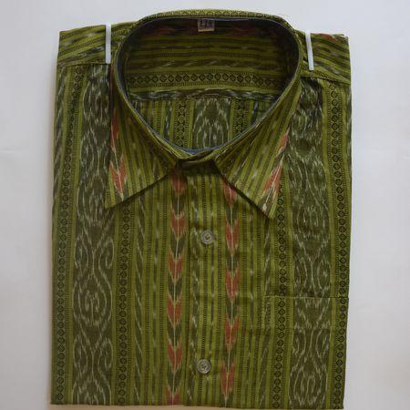 Exclusive Green Handwoven Sambalpuri Ikat Cotton Gents Half Shirt AJ002124