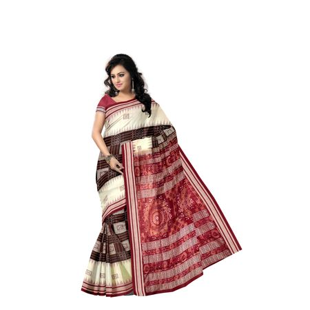 Deep coffee with Maroon Handloom Bomkai Design Cotton saree with Blouse Piece AJ001224