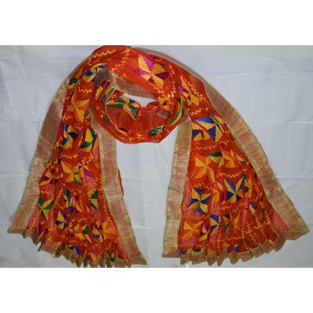 OSSPN002: Punjabi Hand Embroidery Phulkari Faux Chiffon Orange Dupatta, Stoles