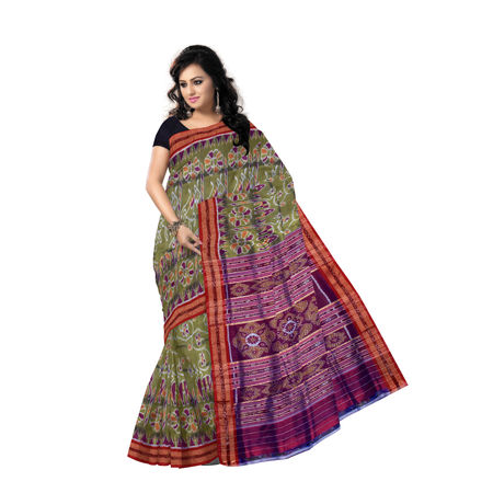 Olive green flower design hand woven Khandua Silk Saree Of Odisha Nuapatna AJ000050