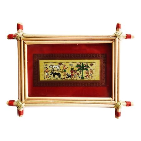Patachitra Frame Painting Of Village Life Pipili, Odisha AJ001690
