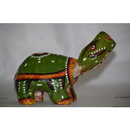 OHP081: Paper mache work of swinging animal.
