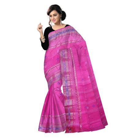 OSSWB90011: Pink color Tant Jamdani handloom cotton sarees