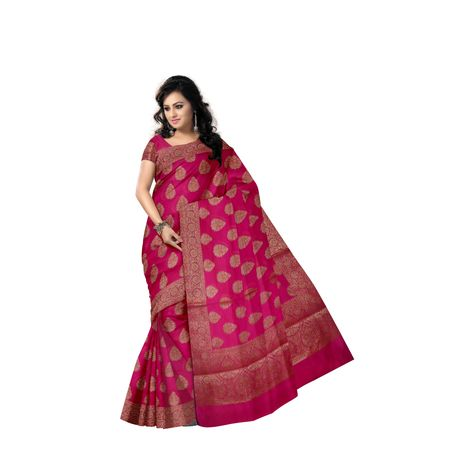 Bright Pink With Golden Handloom Buti Design Banaras cotton Silk Saree of Uttar Pradesh AJ001595