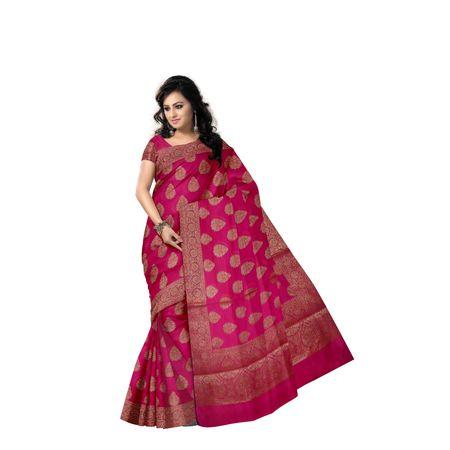 Bright Pink With Golden Handloom Buti Design Banaras cotton Silk Saree of Uttar Pradesh AJ001595