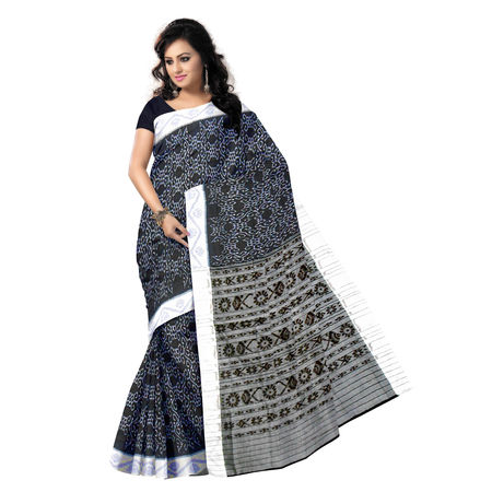 OSS1008: Black color Handloom cotton saree of odisha