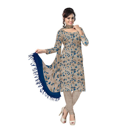 OSSBR002: Khadi with blue color Bhagalpur Cotton Dress Materials
