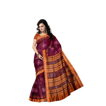 Magenta with Orange Ikat Handloom Silk saree of Odisha Nuapatna AJ001303