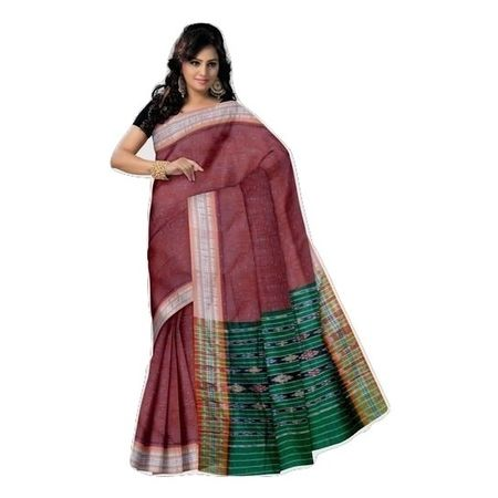 OSS7437: Maroon with Green combination handloom cotton saree