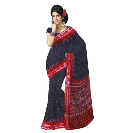 OSS975: Orissa traditional Black handloom Weaving cotton sarees