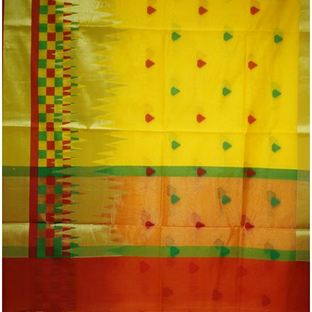 Yellow With Multicolor Handloom Banaras cotton Silk Saree of Uttar Pradesh AJ001566